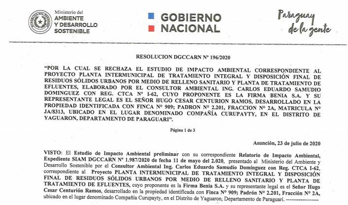 Resolución DGCCARN Nº 196/2020